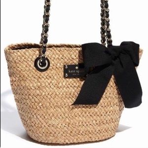 Kate Spade natural straw tote with bow detail